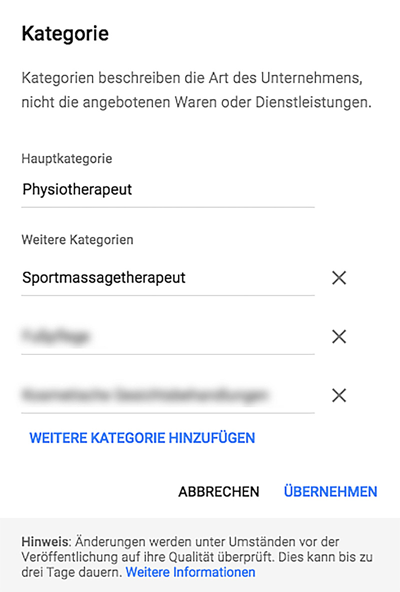 Google MyBusiness Kategorien